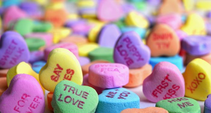 candy hearts for valentines day and love