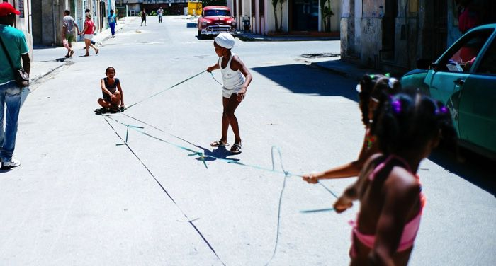 children playing on the streets of cuba