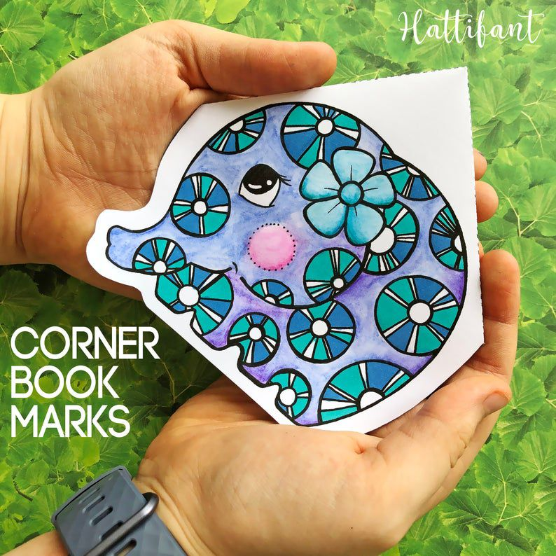 Corner bookmarks to color with elephant illustration
