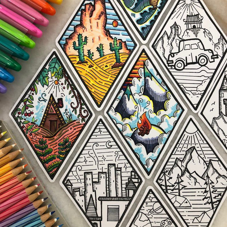 Diamond-shaped nature and scenery bookmarks to color