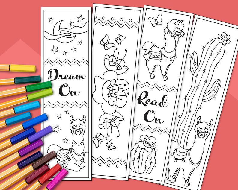 Llama bookmarks to color for kids