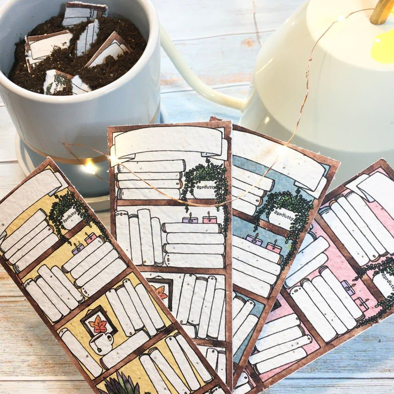 Plantable bookmarks to color or fill in book titles on illustrated book shelves