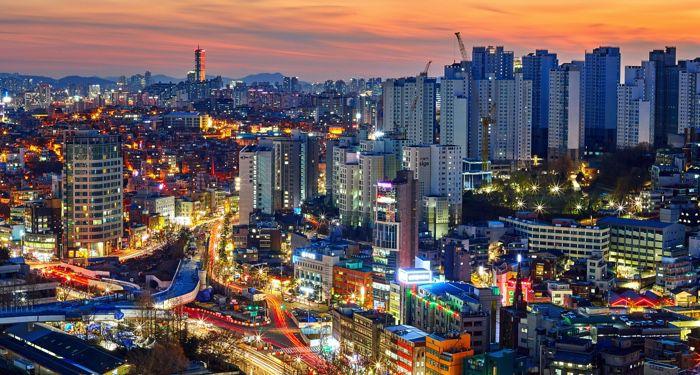 Overlooking Seoul South Korea at dusk