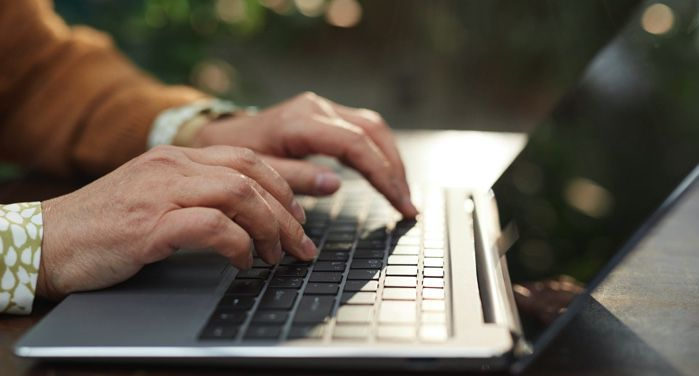 image of hands typing on a black and silver laptop computer https://www.pexels.com/photo/person-using-black-and-silver-laptop-computer-6787921/