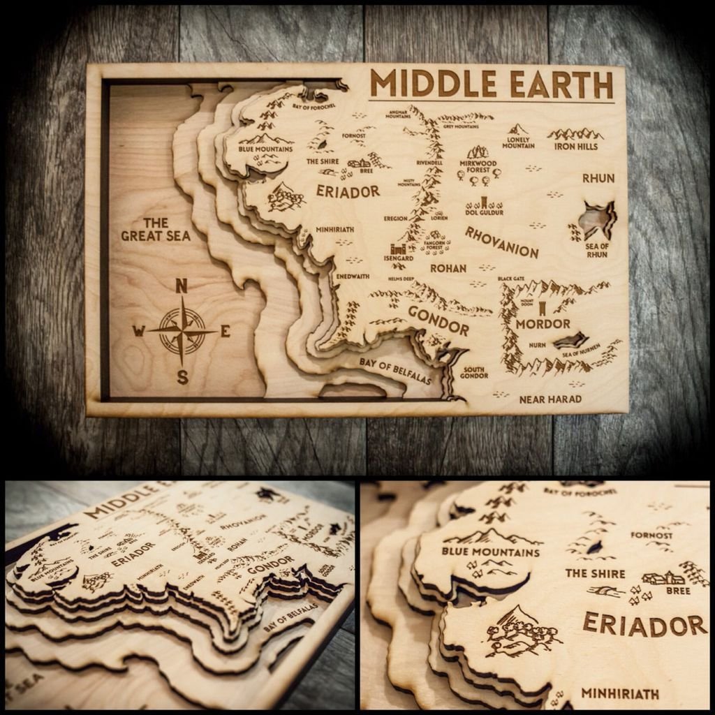 Wooden Middle-earth map