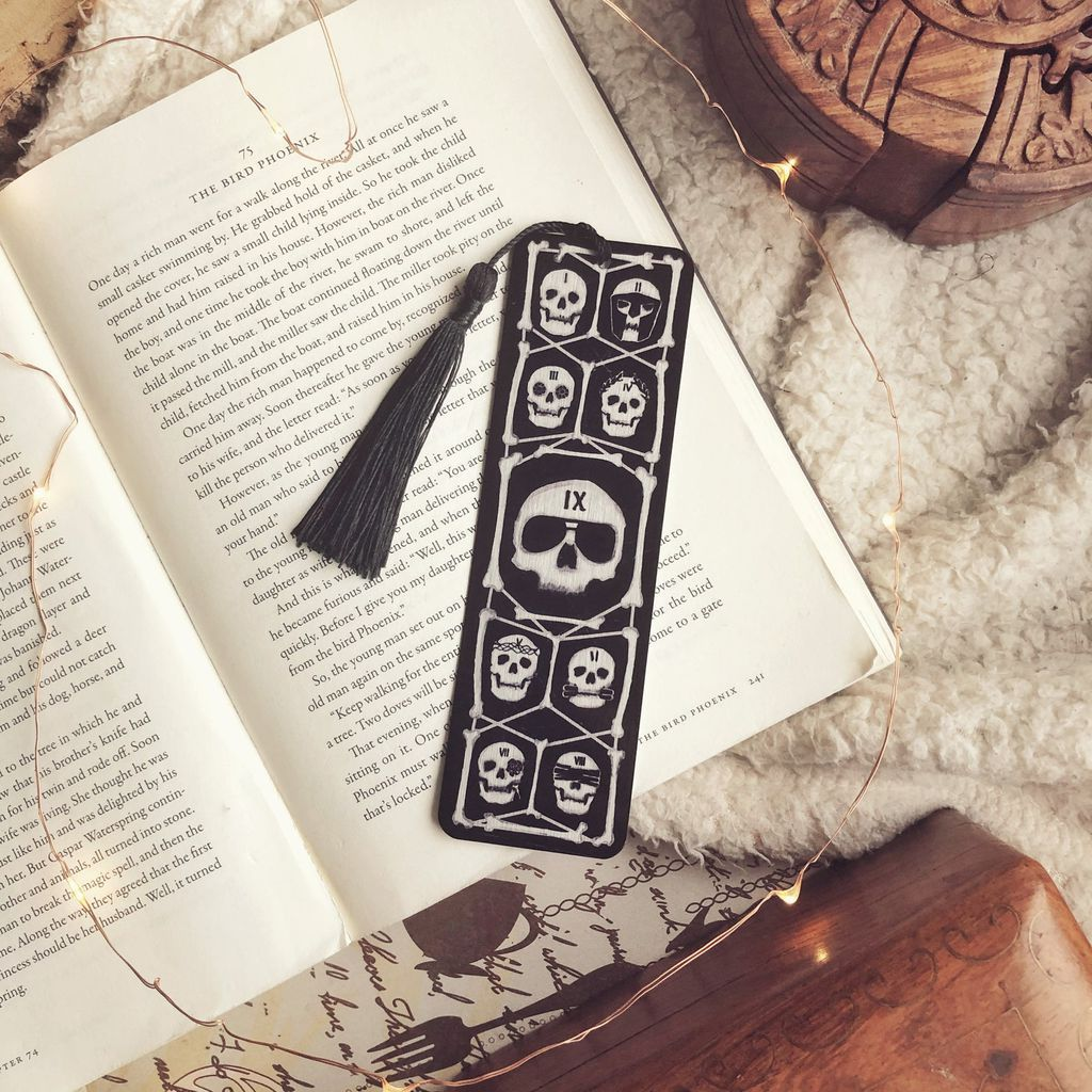 Locked Tomb metal bookmark