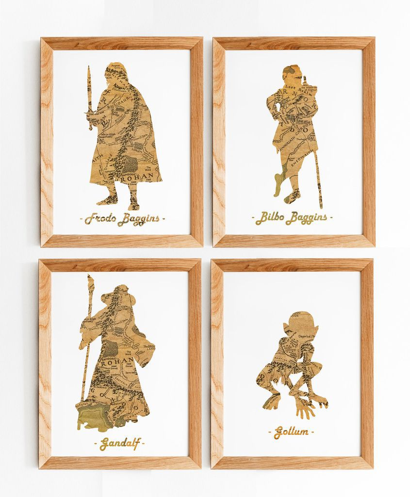 Silhouettes of Lord of the Rings characters using Middle-earth maps
