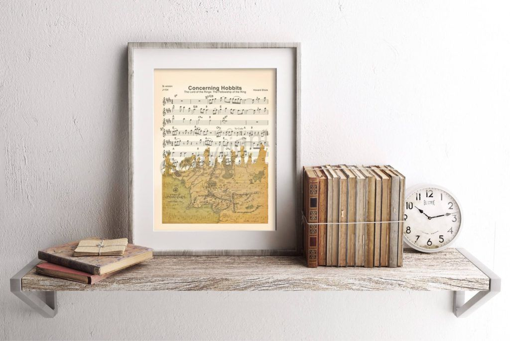 Lord of the Rings artwork with sheet music
