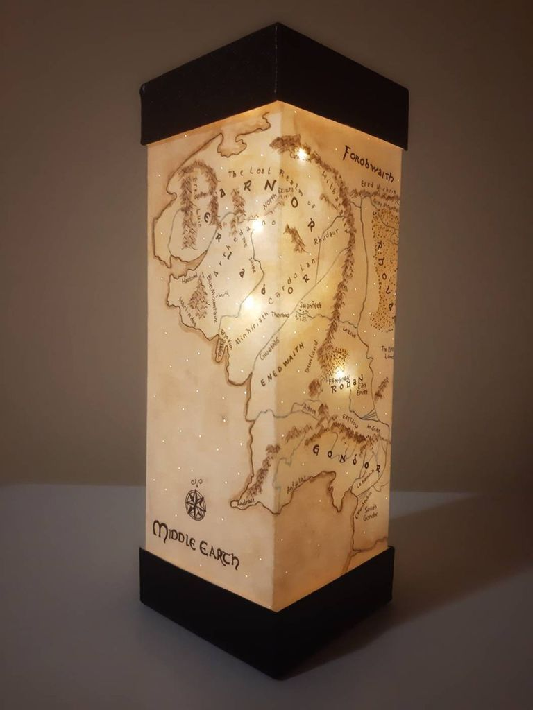 Hand-painted paper lamp with Middle-earth map