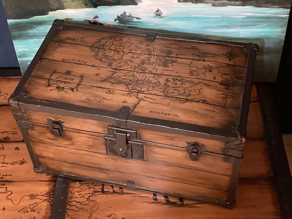Trunk with Middle-earth map on lid