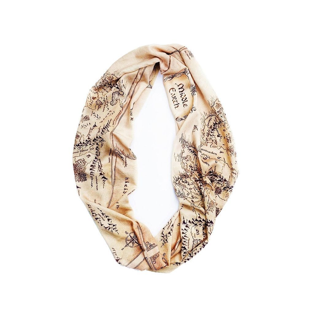Lord of the Rings infinity scarf printed with a map of Middle-earth