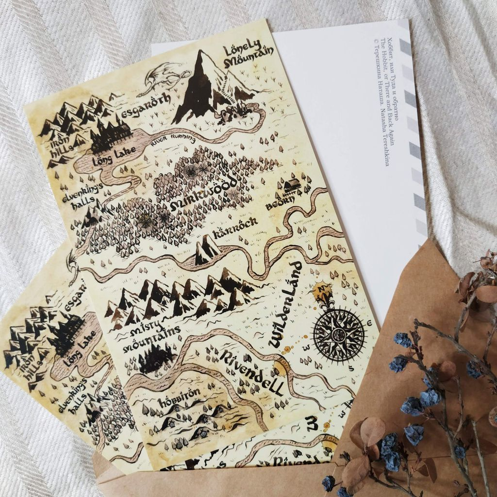 Middle-earth map postcard