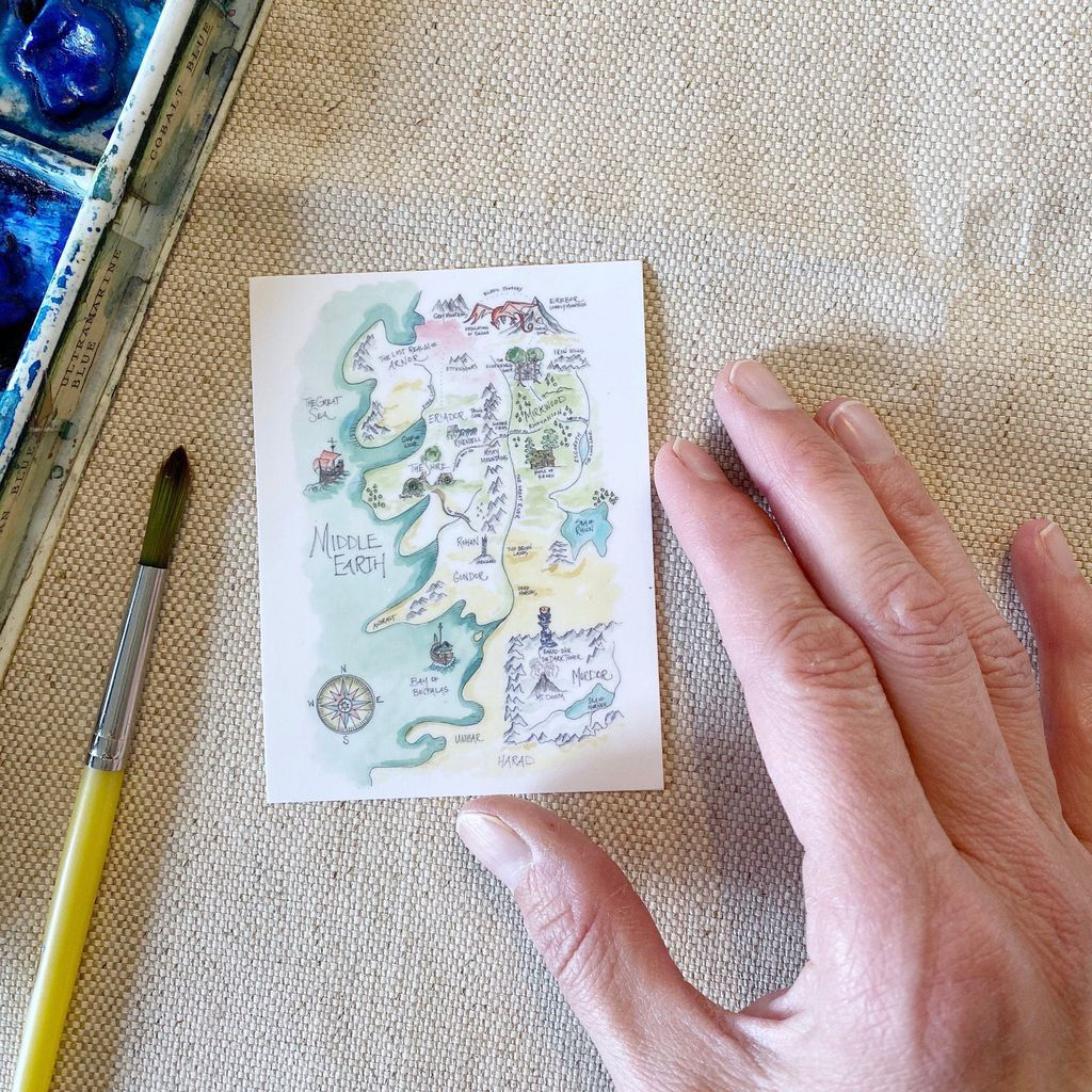 Middle-earth map watercolor stickers