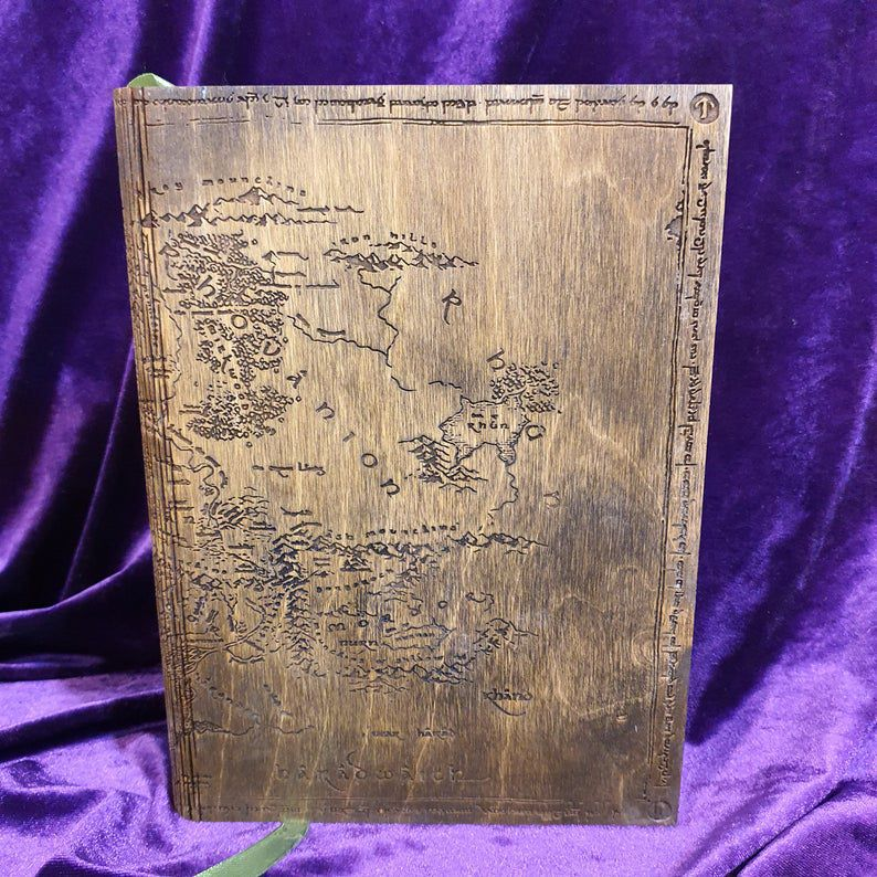 Wooden Middle-earth map journal