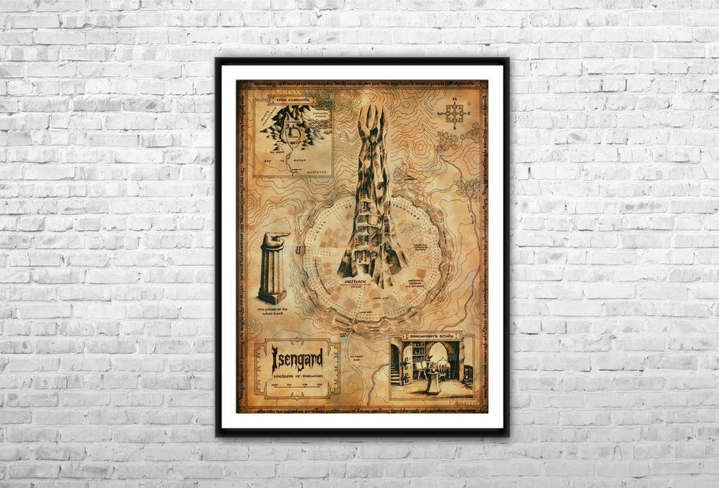 Lord of the Rings map of Isengard print