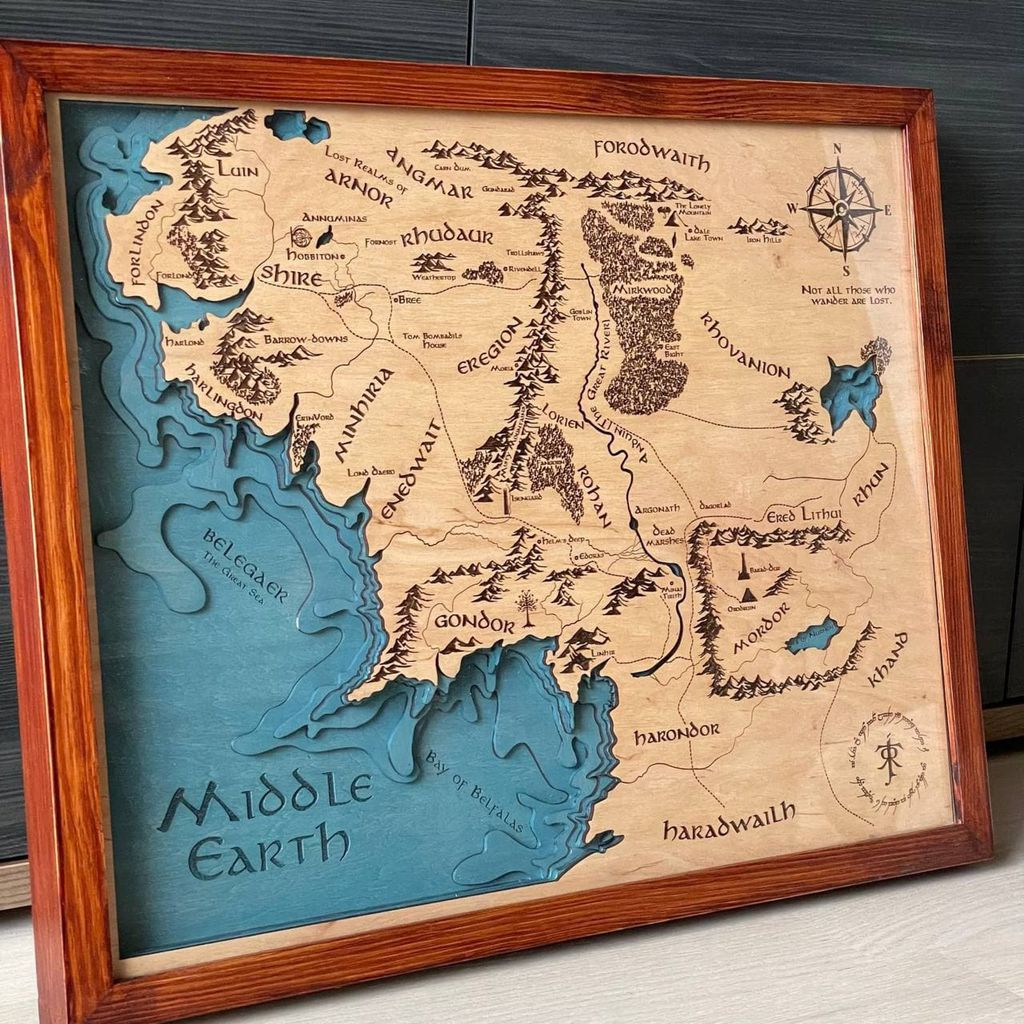 3D wooden Middle-earth map