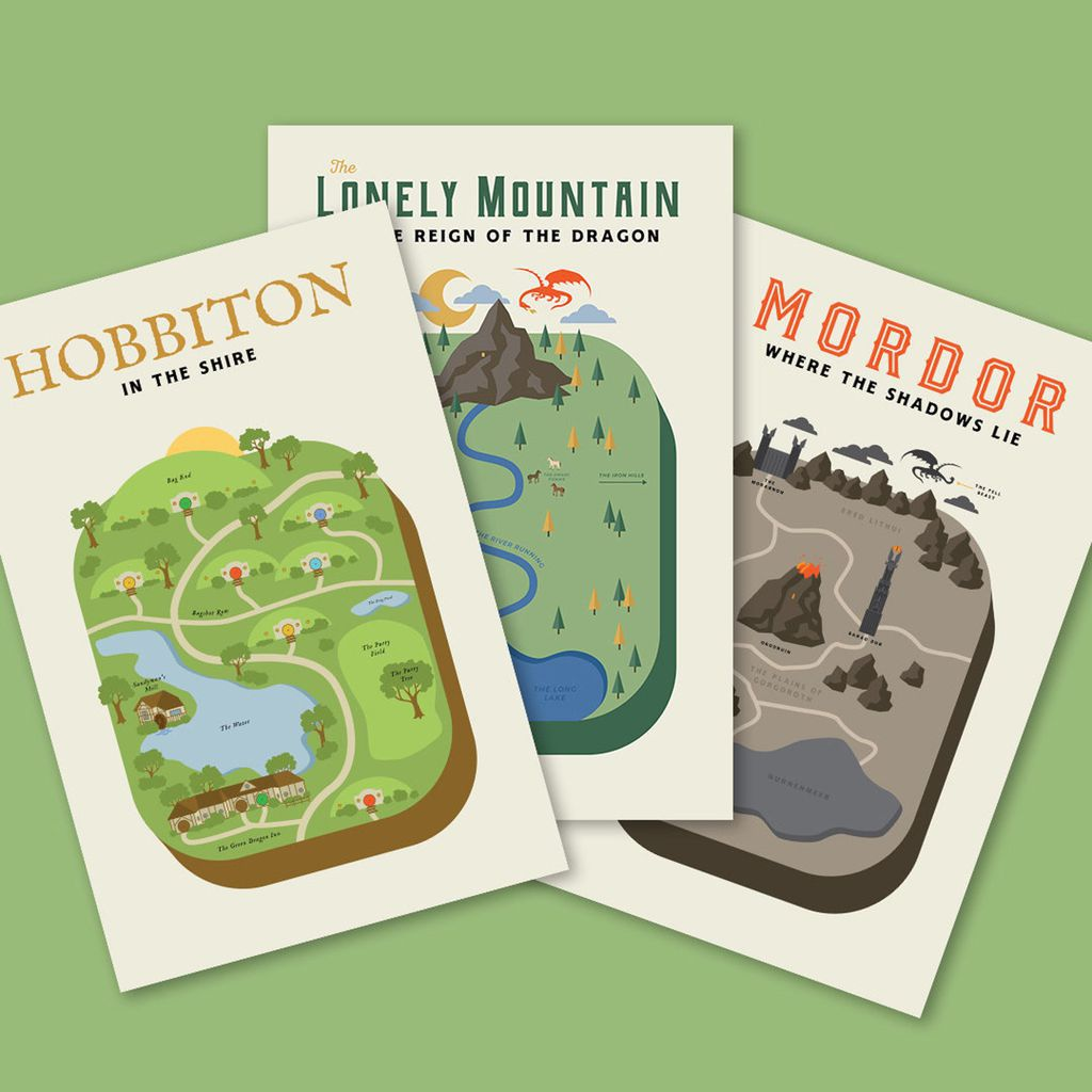 Travel poster-style illustrations of Hobbiton, The Lonely Mountain, and Mordor