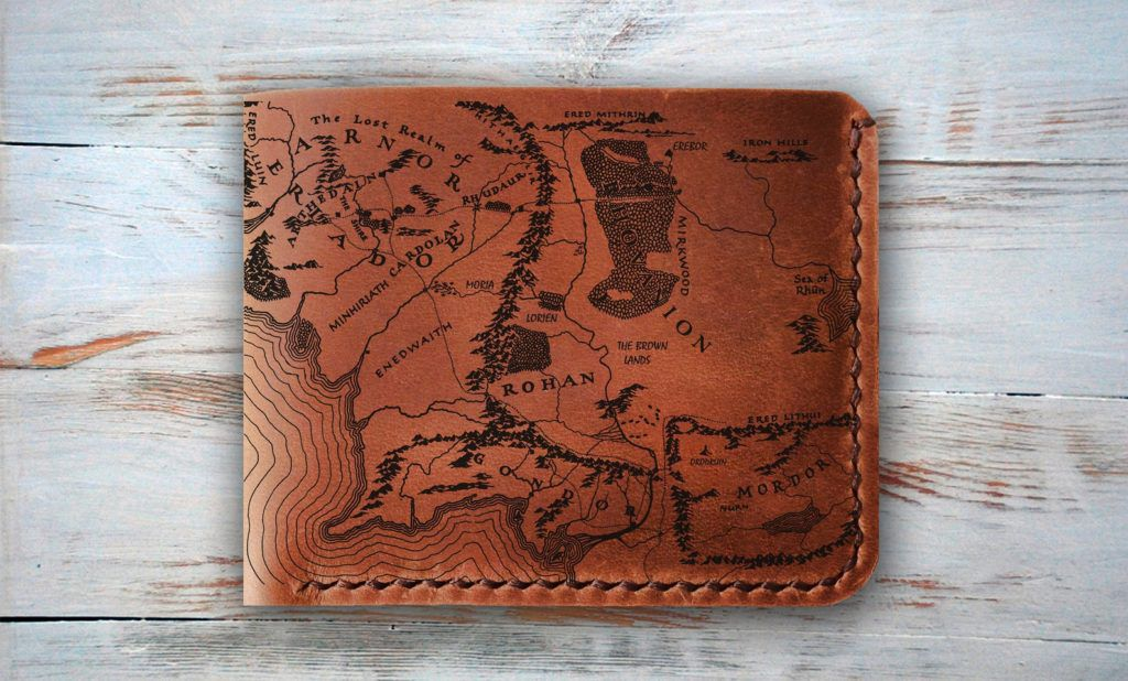 Middle-earth map leather wallet