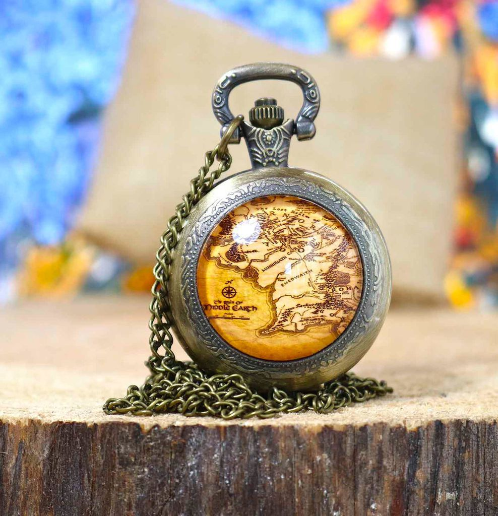 Pocket watch with Middle-earth map