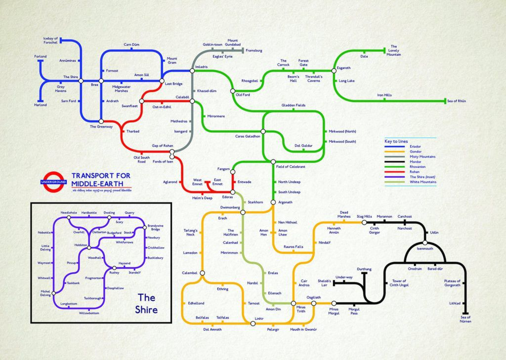 Tube map of Middle-earth