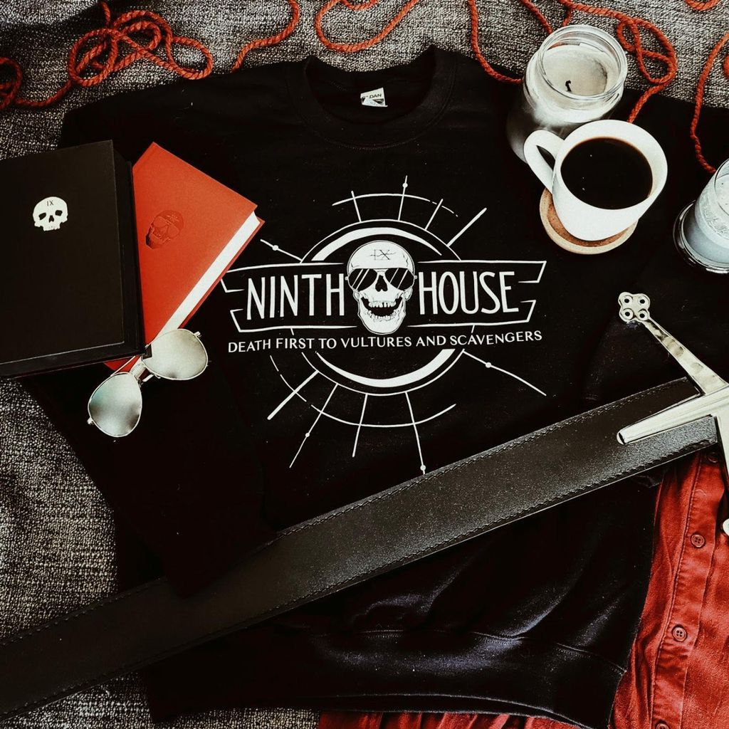 Gideon the Ninth sweatshirt reading Ninth House: Death first to vultures and scavengers