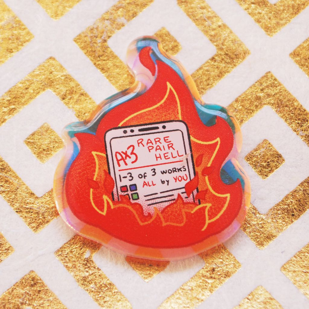 Rare pair hell acrylic pin