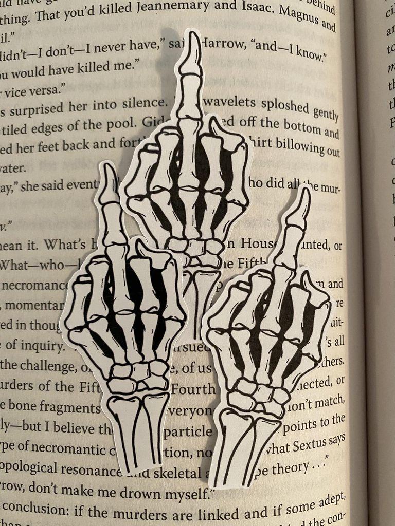 Skeleton middle finger laptop sticker