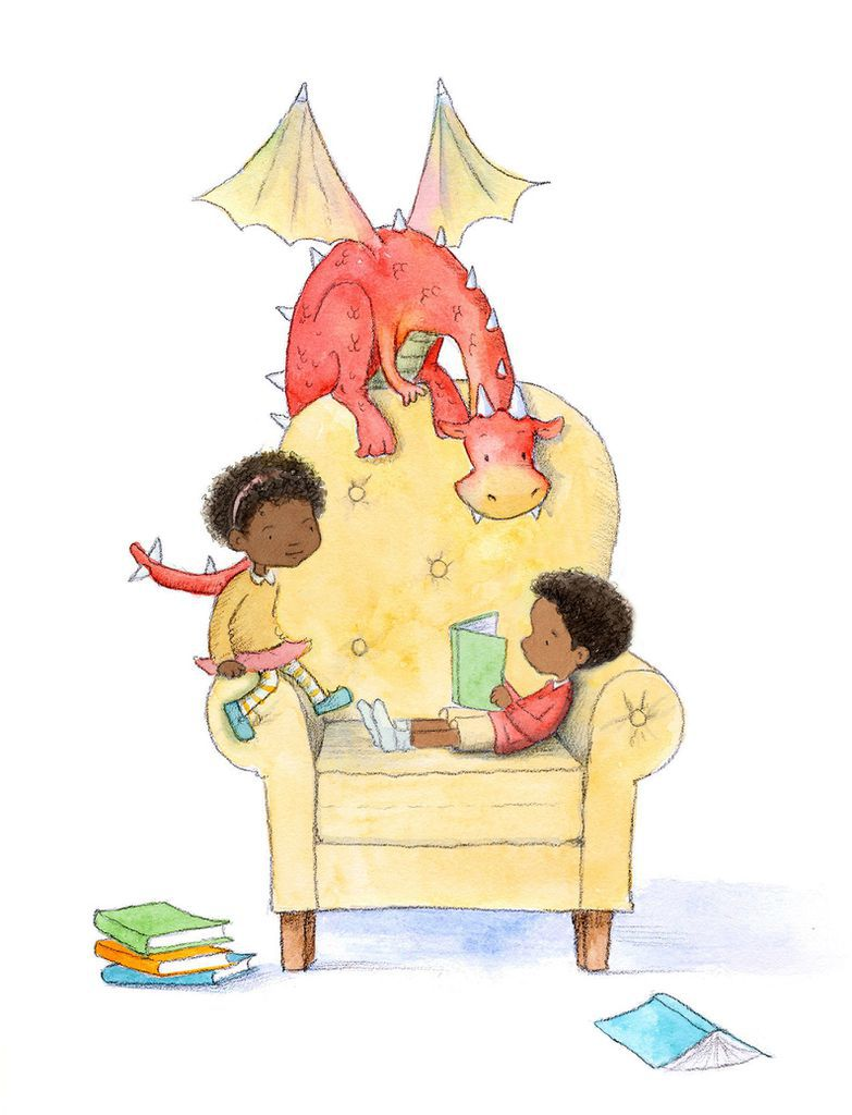 An art print of a dragon reading with children