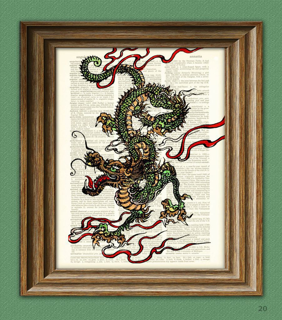 Chinese dragon print with upcycled dictionary pages