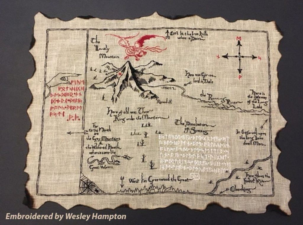 Cross stitch of Middle-earth map