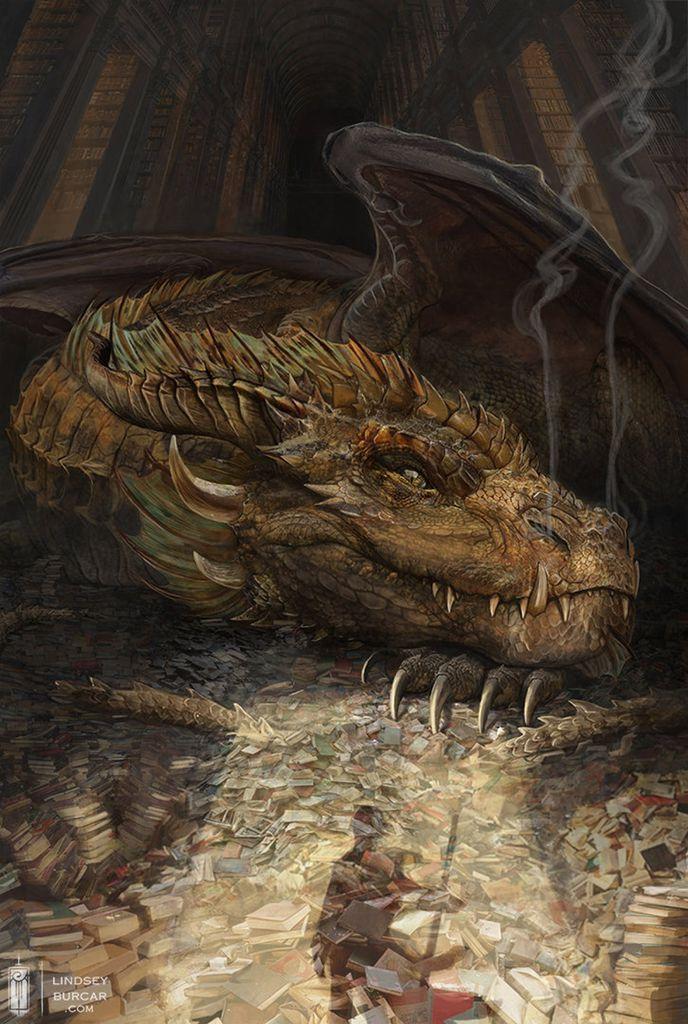 An art print of a dragon guarding their library