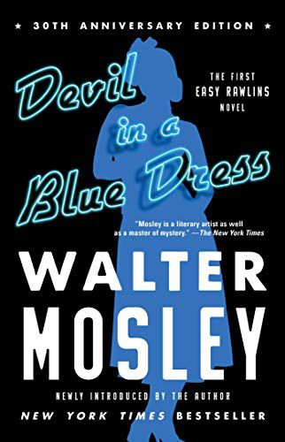cover image of Devil in a Blue Dress by Walter Mosley, a black cover with a blue outline of a woman in the center