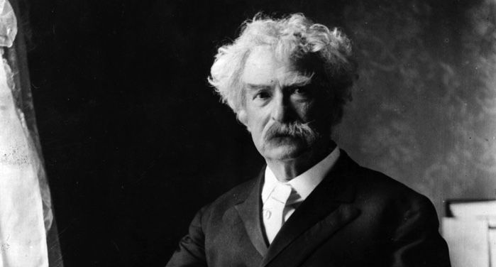 black and white photograph of Mark Twain https://commons.wikimedia.org/wiki/Category:Photographs_of_Mark_Twain#/media/File:Mark_Twain_by_Ernest_H_Mills,_c1895.jpg