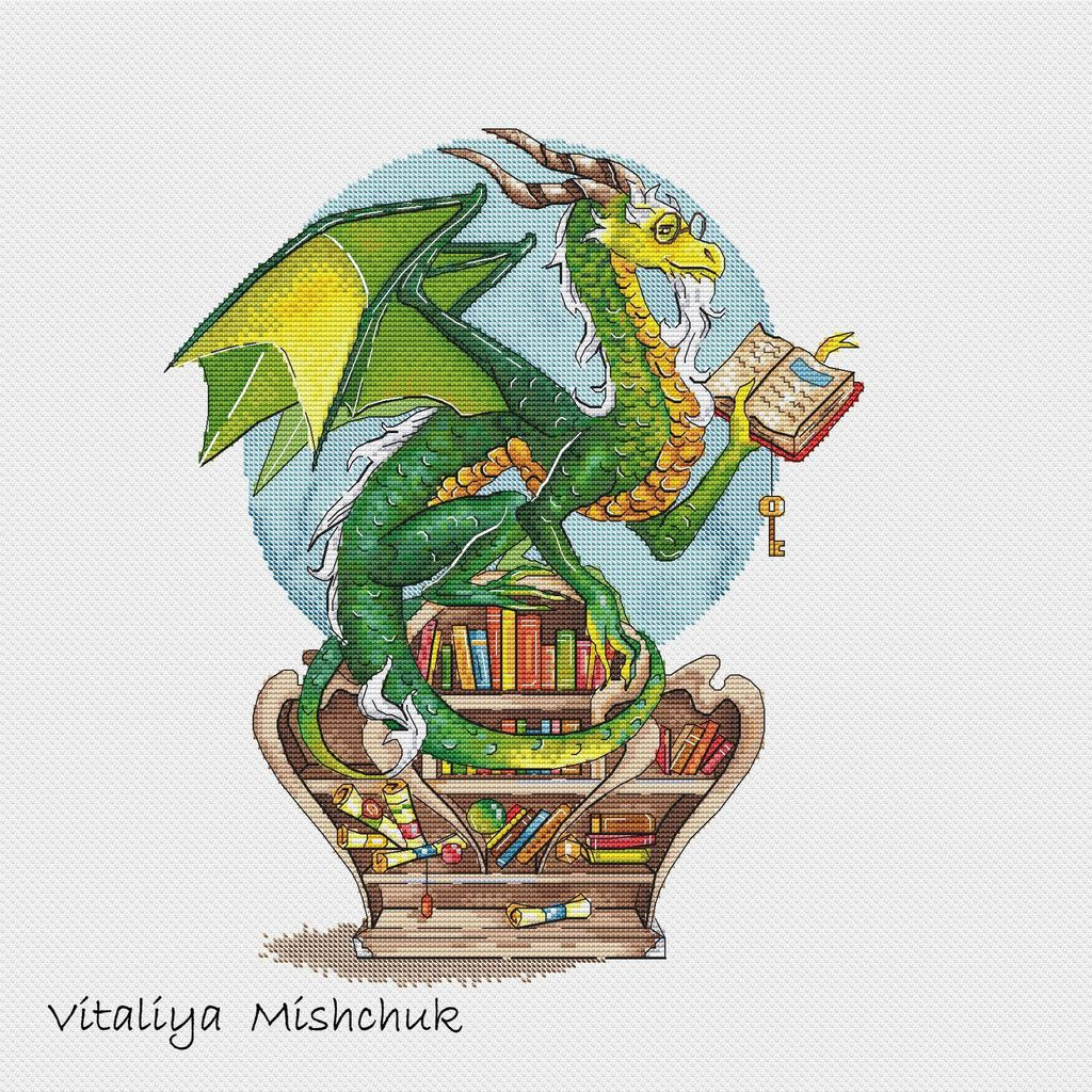 Cross-stitch pattern of a dragon reading, perched on a bookcase