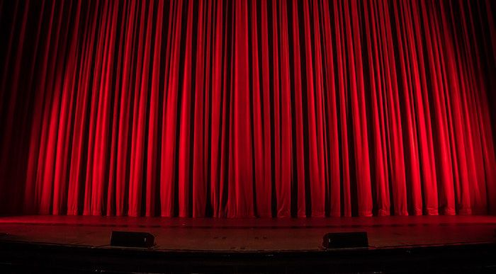 red curtains for theater post