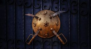 two swords embedded in a bronze shield https://unsplash.com/photos/6CfpUEmNWAU