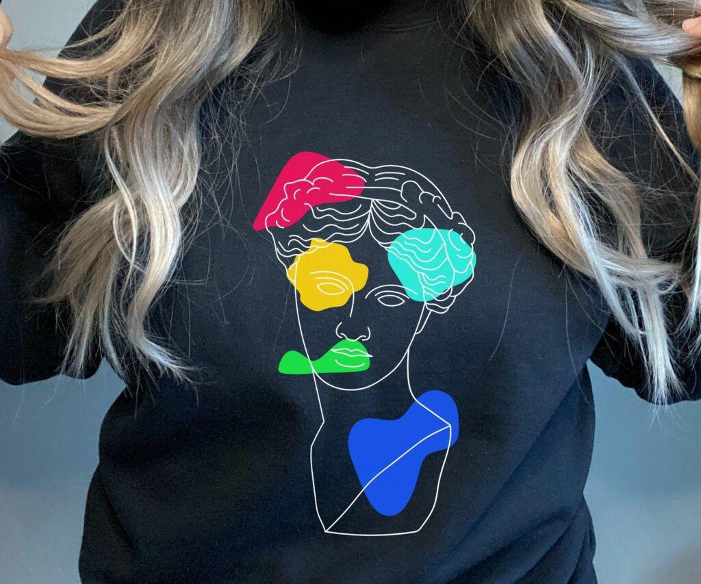 Colorful Sappho bust sweatshirt