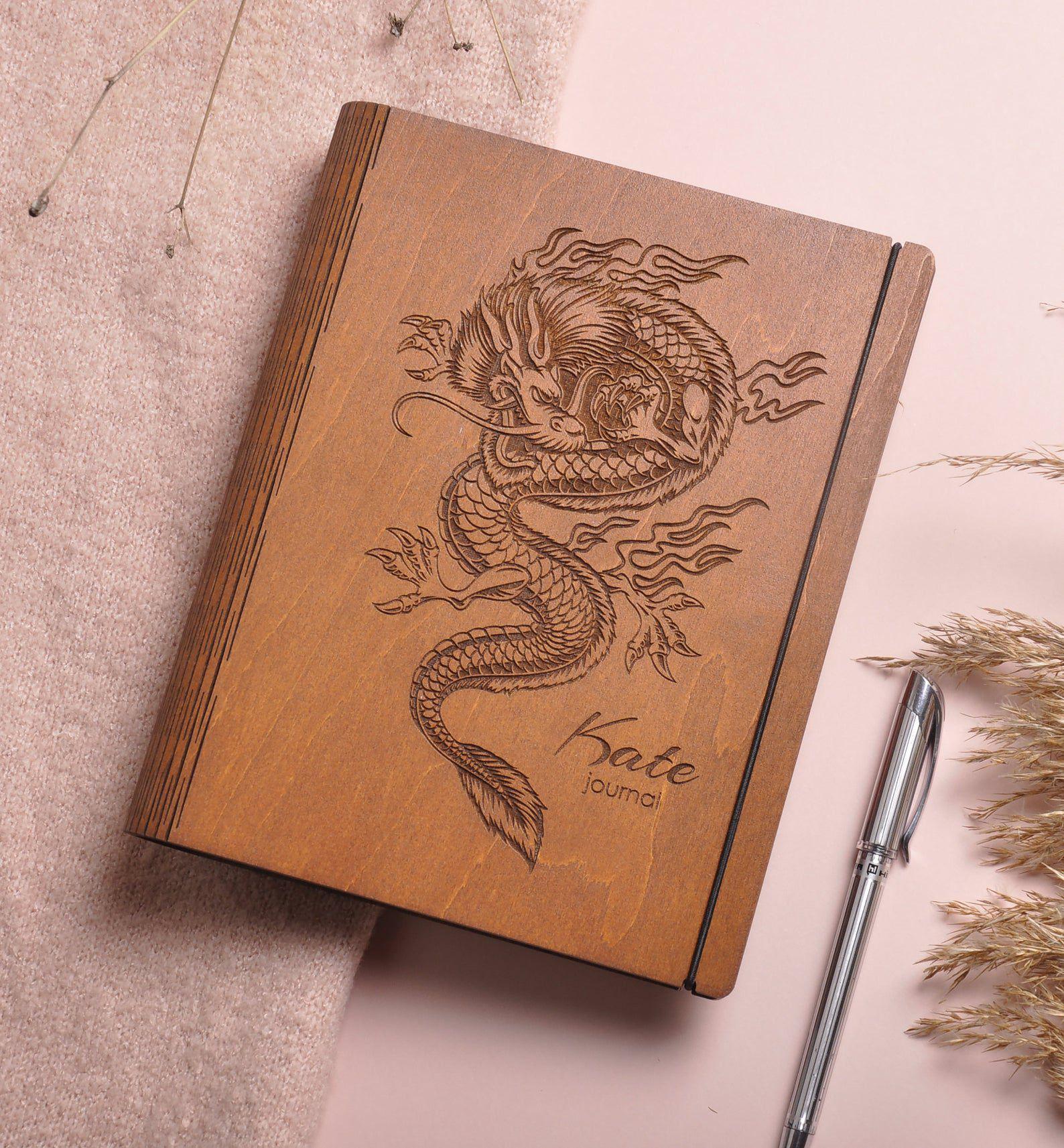 Customizable wooden dragon journal