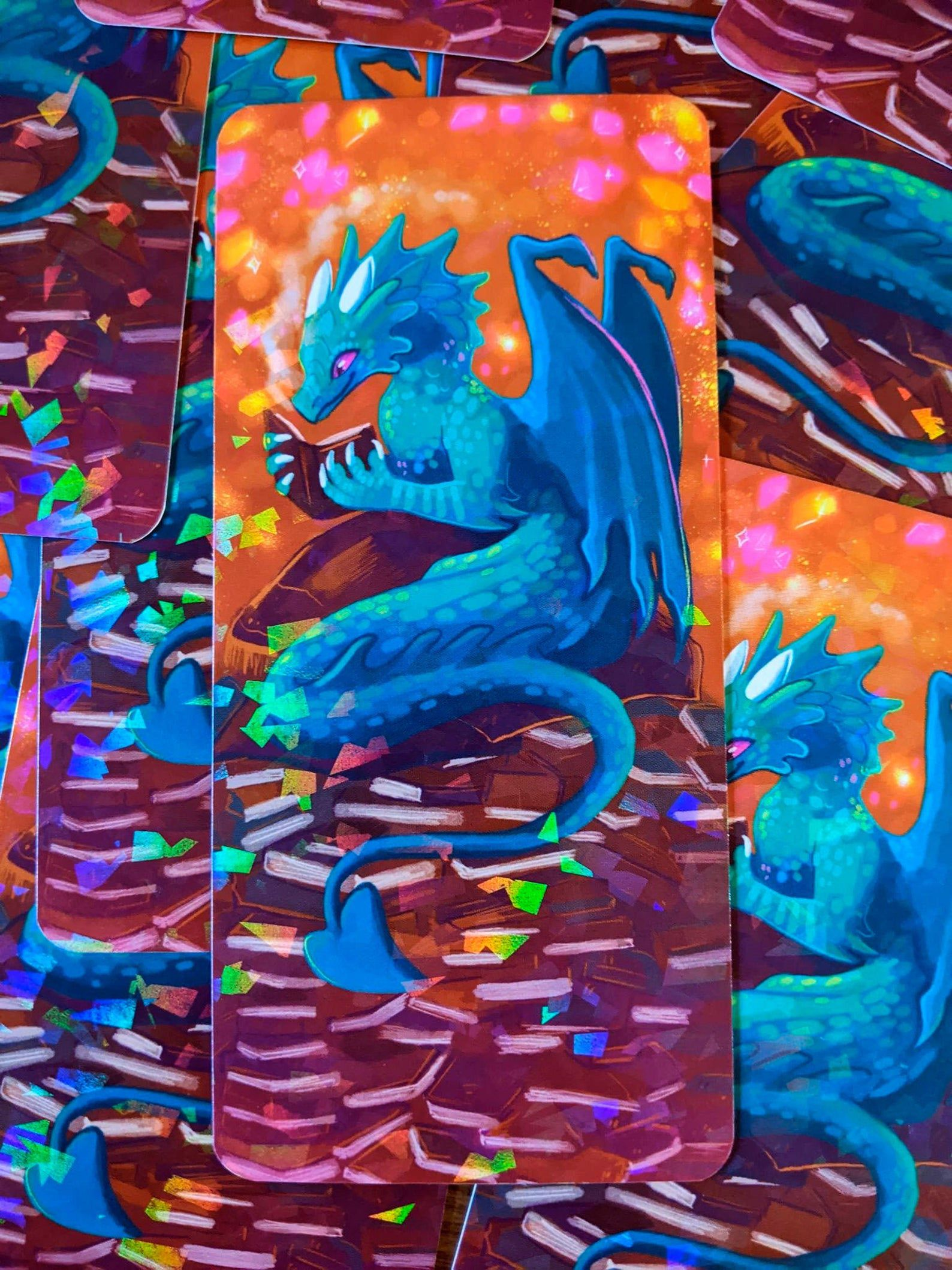 Holographic book wyrm bookmark