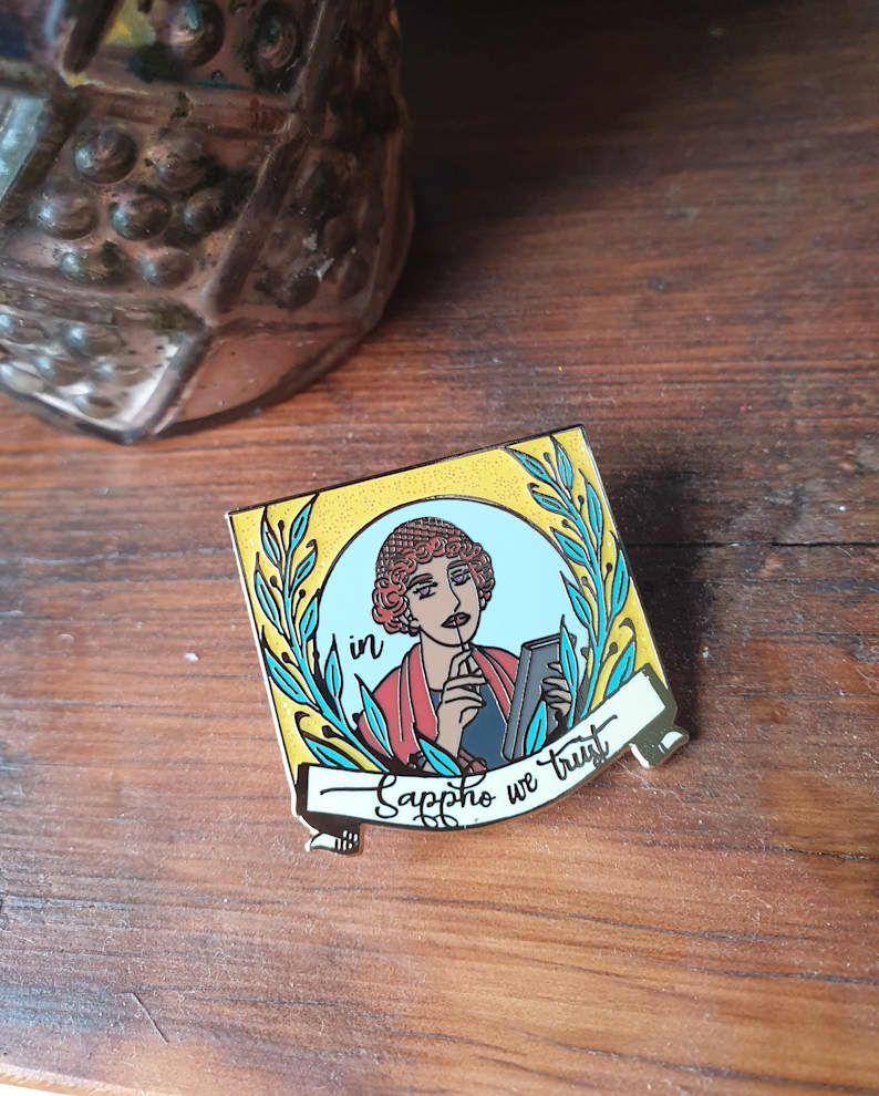 In Sappho We Trust enamel pin