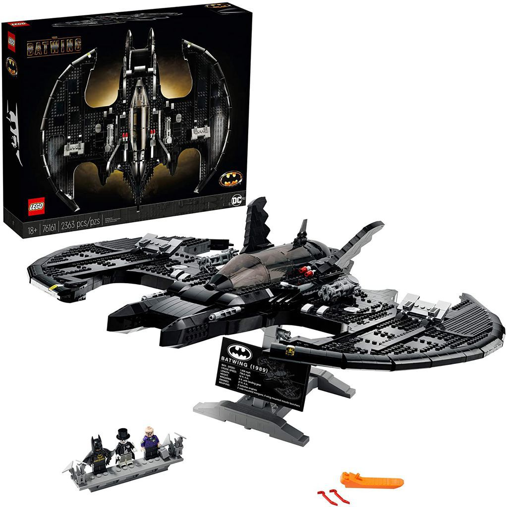 LEGO DC Batman 1989 Batwing 76161 Displayable Model with a Buildable Vehicle and Collectible Figures: Batman, The Joker – Mime Version and Lawrence The Boombox Goon, New 2021
