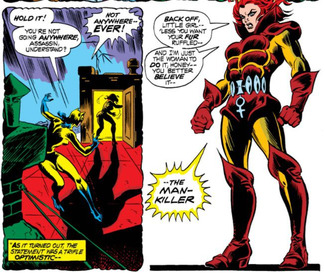 """From Marvel Team-Up #8. The Cat pursues Man-Killer. Man-Killer wears red-and-orange armor with padded abs and the symbol for """"female"""" hanging from her belt."""