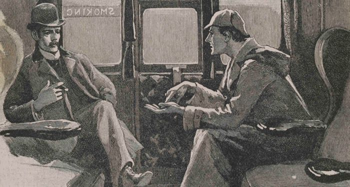 Sherlock Holmes (right) and Watson in a Sidney Paget illustration for The Adventure of Silver Blaze