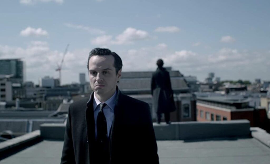 Moriarty and Sherlock in Reichenbach Fall https://www.imdb.com/title/tt1942614/mediaviewer/rm612160513/