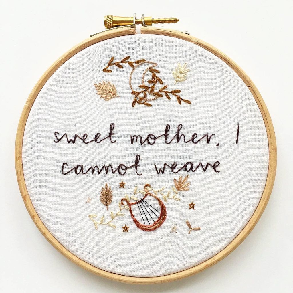 Sweet mother I cannot weave Sappho embroidery