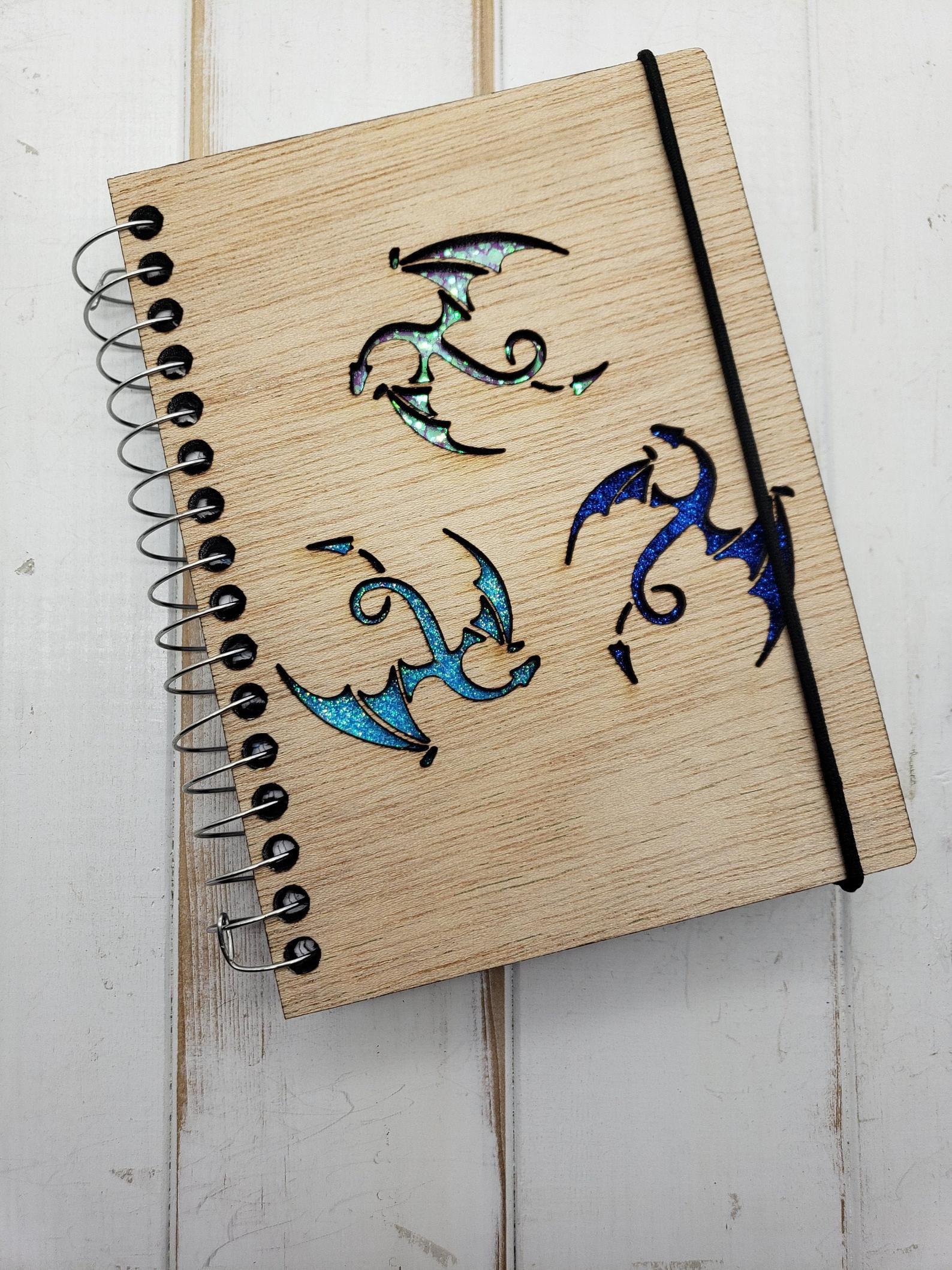 Three dragons wooden pocket journal