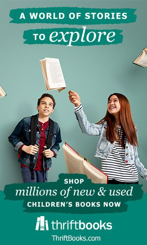 "two teenagers admiring several books suspended in midair. Text reads ""A world of stories to explore"" and ""shop millions of new and used children's books now"" and ""thrift books."" Background is green."