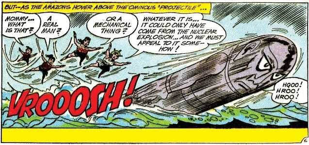 """A panel showing a bullet-shaped humanoid in the sky, with the Wonder family in pursuit. Queen Hippolyta says """"It could only have come from the nuclear explosion! ... And we must appeal to it somehow!"""" The projectile says """"Hroo! Hroo! Hroo!"""""""