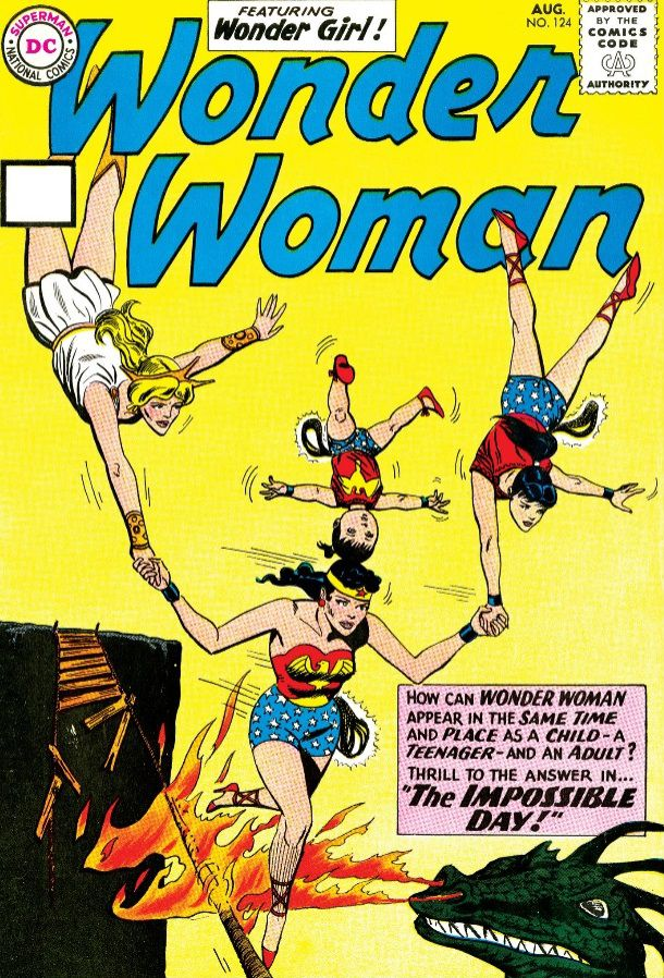 """The cover of Wonder Woman #124, showing Wonder Woman on a tightrope balancing her teenage, child, and adult selves on her head and hands. The text reads """"How can Wonder Woman appear in the same time and place as a child, a teenager, and an adult? Thrill to the answer in... THE IMPOSSIBLE DAY!"""""""