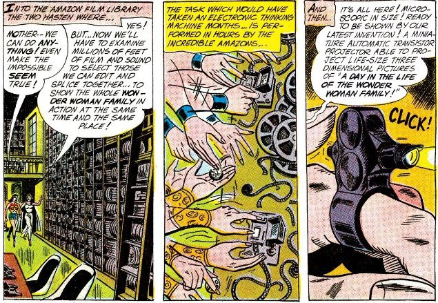 Three panels from the comic, showing Wonder Woman and her mother creating a portable projection machine and splicing together home movies.